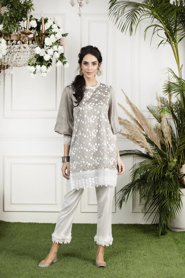 Mulmul Silk Mimosa Kurta with Hibiscus cotton Pyajamas