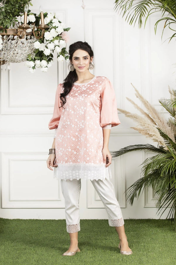 Mulmul Silk Mimosa Kurta with White fern silk pyjamas