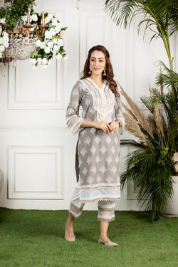 Mulmul cotton maple kurta with mulmul maple pyajamas