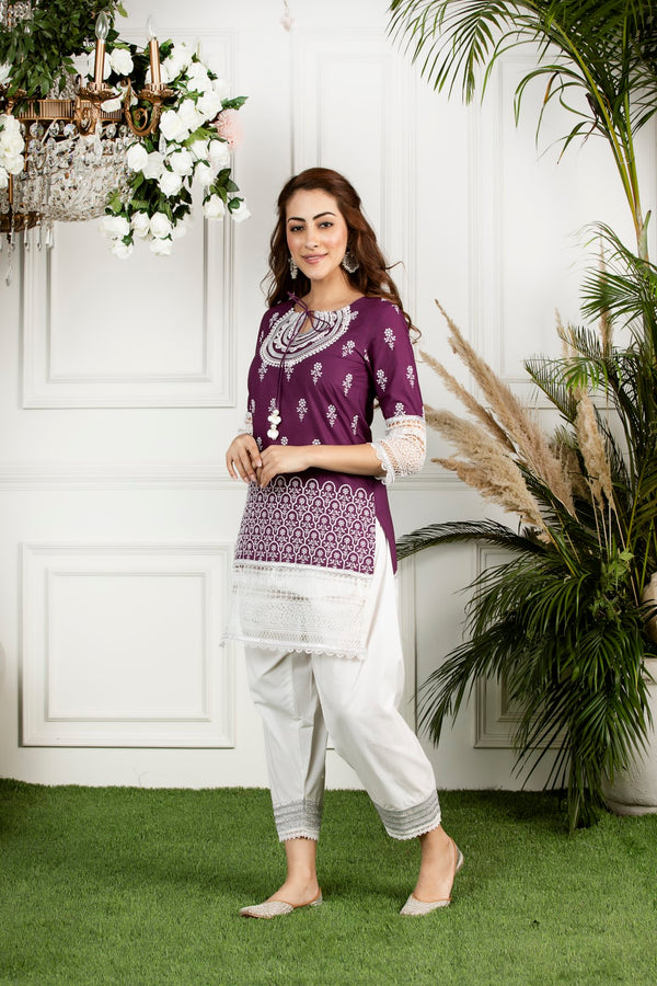 Mulmul cotton  portia kurta with  mulmul gota salwar