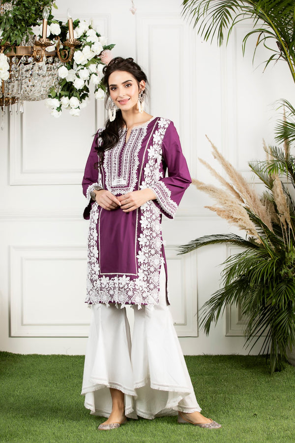 Mulmul cotton  quill kurta with cotton bellbottoms