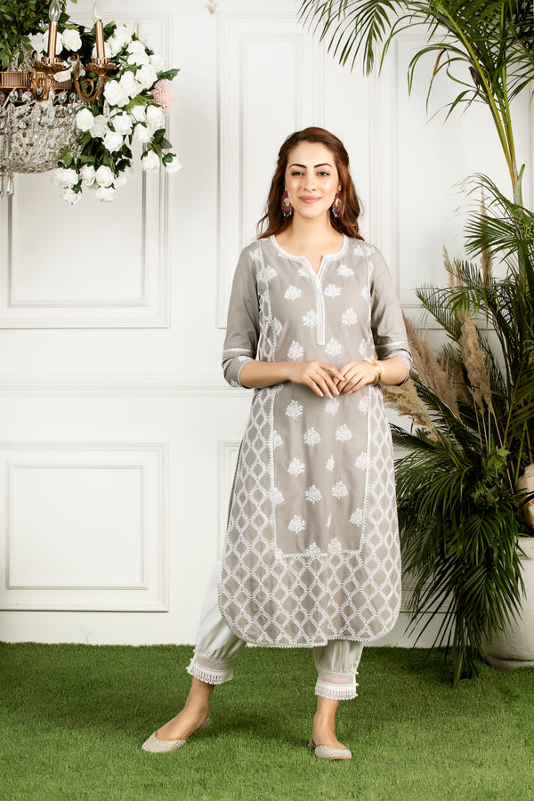 Mulmul cotton senna kurta with mulmul harem pants