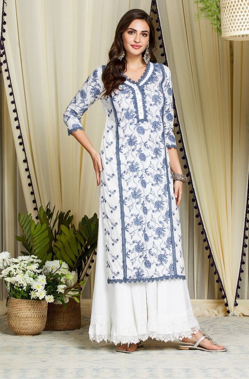 Mulmul Cotton Rosetta Kurta  With Blossom Sharara