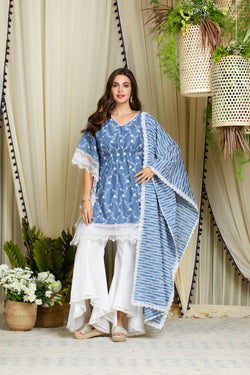 Mulmul Cotton Fiore Kurta With New Bellbottoms