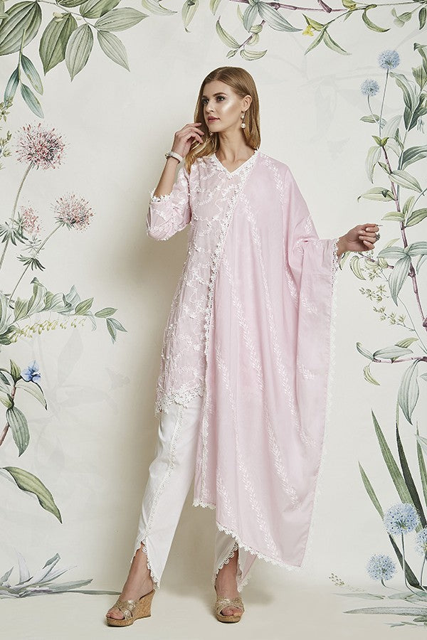 DAIGONAL EMBROIDERED CHUNNI (PINK)