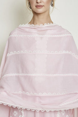 BIG & SMALL SCALLOP LACE CHUNNI (PINK)