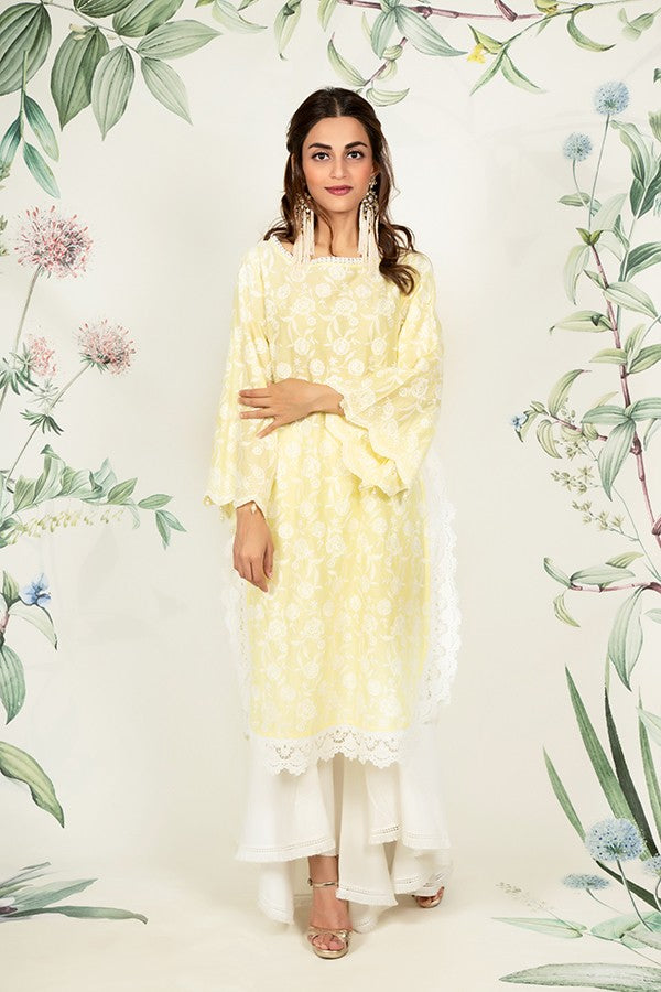 Rosebud Kurta Yellow