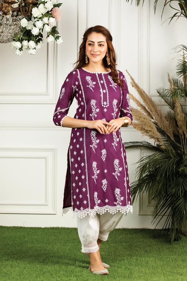 Mulmul cotton  rue Kurta with mulmul harem pants