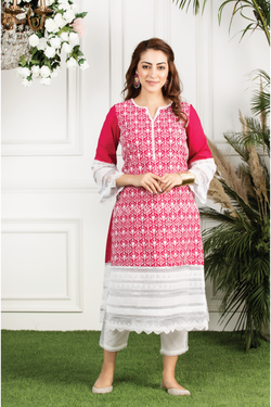 Mulmul cotton  veronica kurta with mulmul gota stripe pyajamas