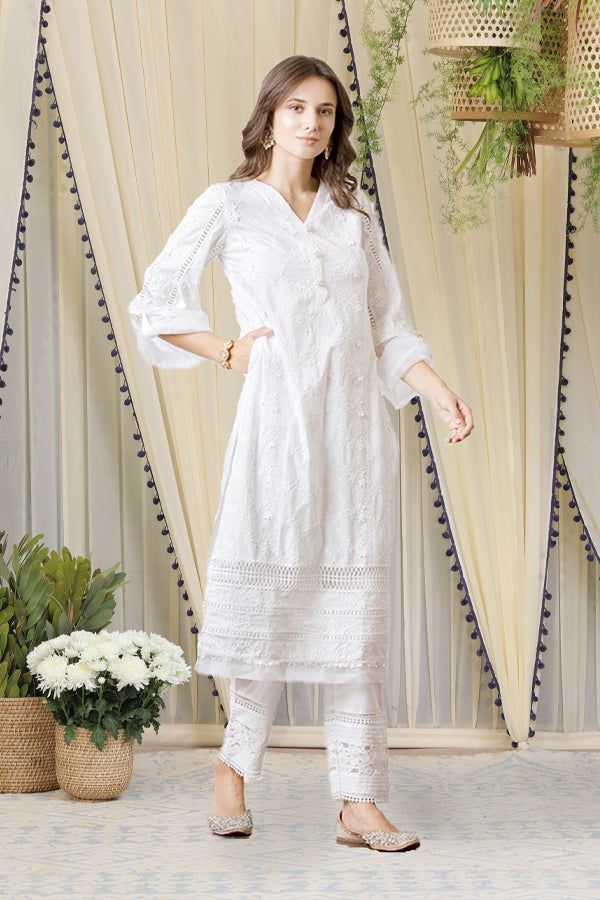 Mulmul Viola White Kurta with New Pintuck Pants