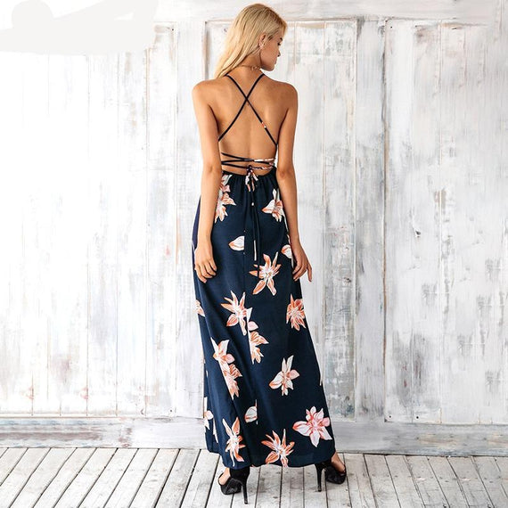 Boho Deep v-neck Backless Dress