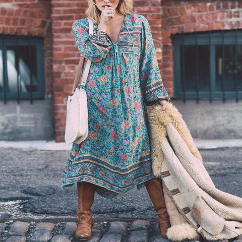 Fashion Lantern Sleeve Casual Maxi