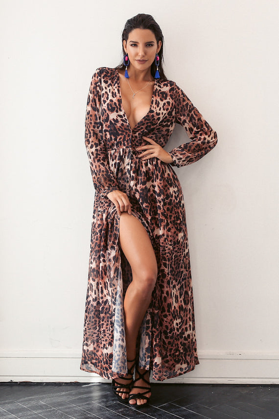 Leopard Deep V Neck Long Dress