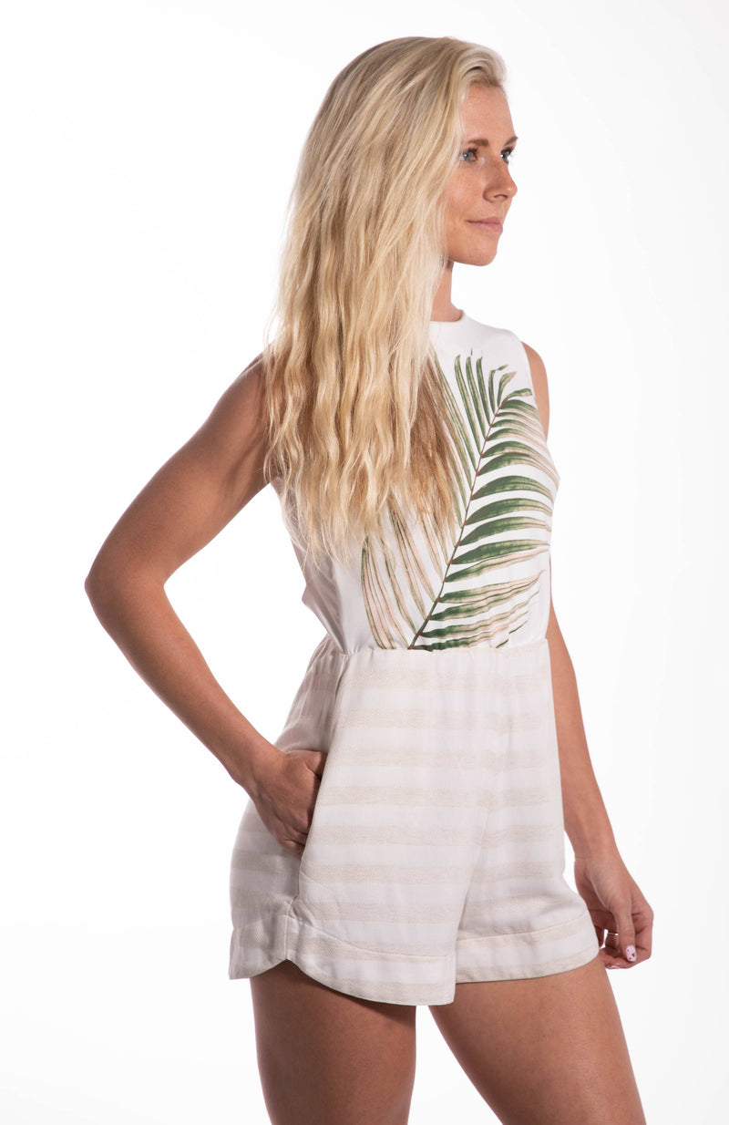 Palm Striped Romper