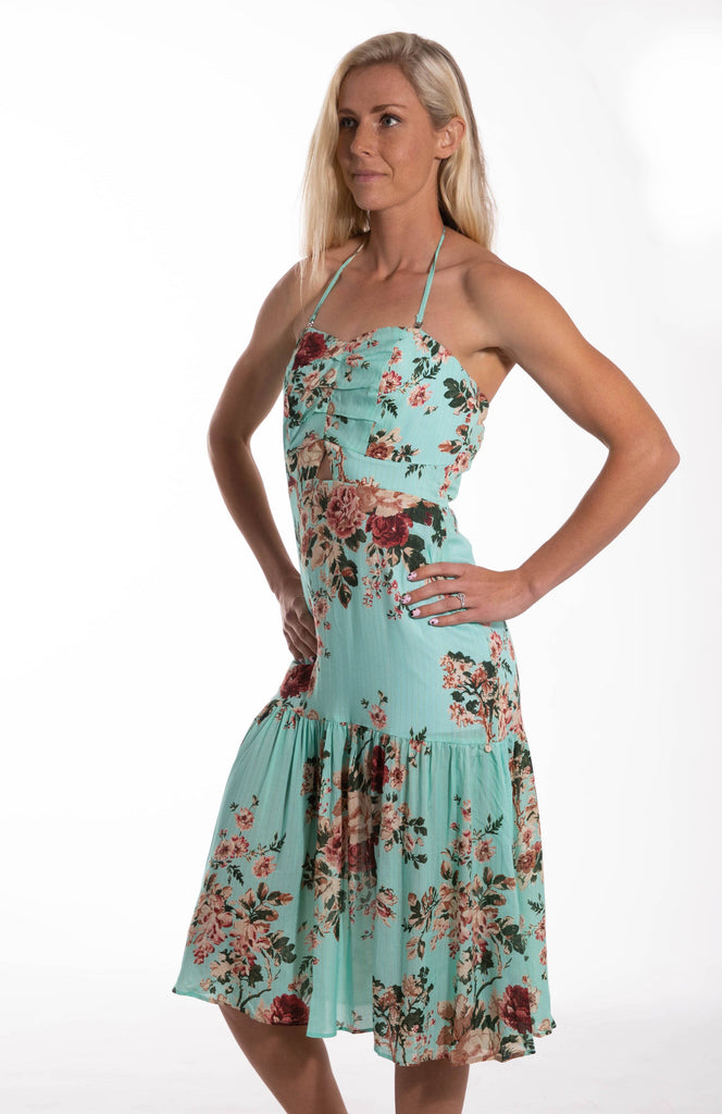 Keyhole Garden Rose Mid Length Dress