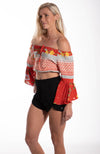 Tropical Strapless Bell Sleeve Crop Top
