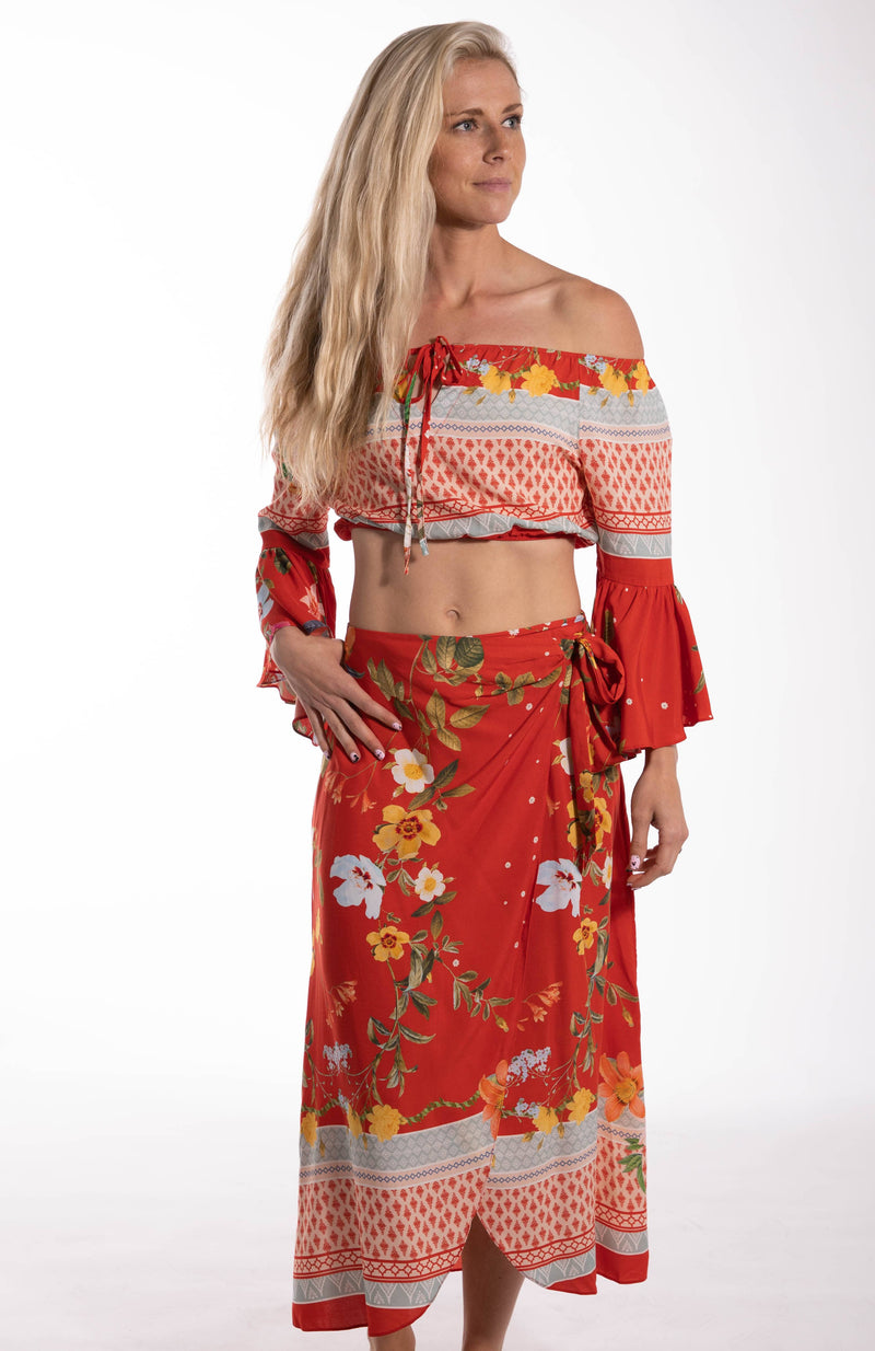 Tropical Wrap Around Tie Skirt