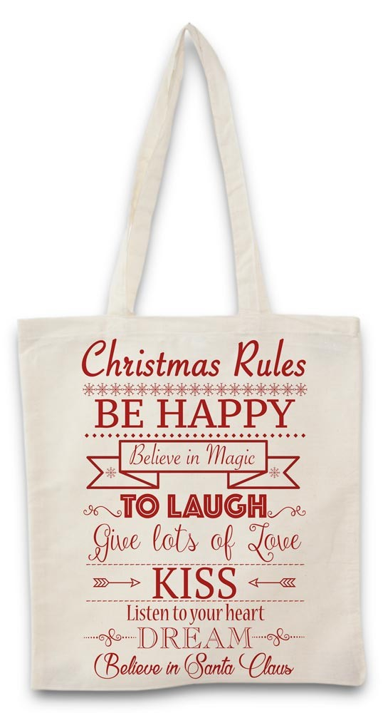 Tote bag christmas rules red
