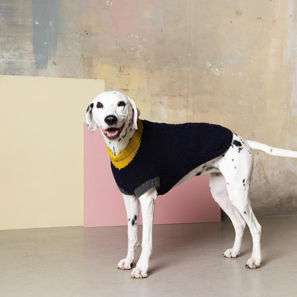 Navy Arran Knitted Jumper Fetch & Follow