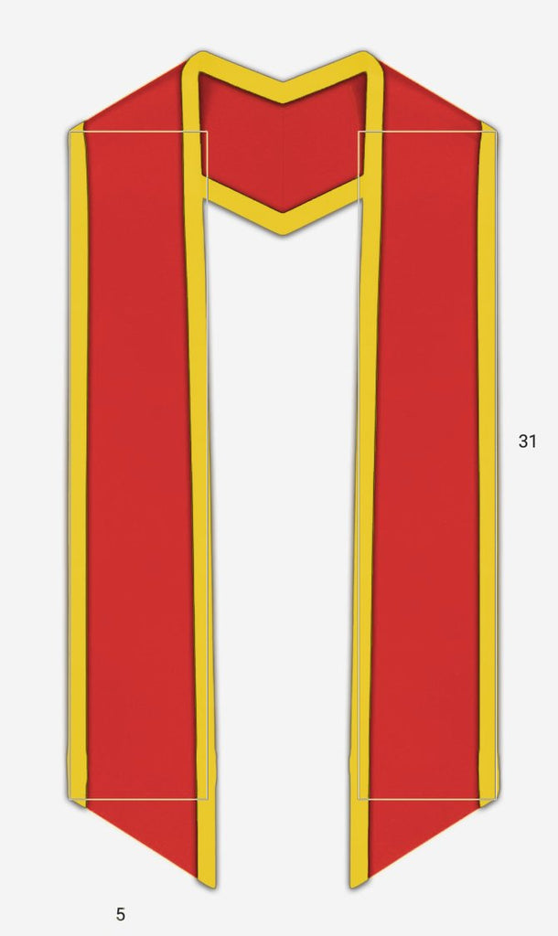 "Plain Graduation Stole Slanted End With Gold Trim - 72"" Long - Graduation Cap and Gown"