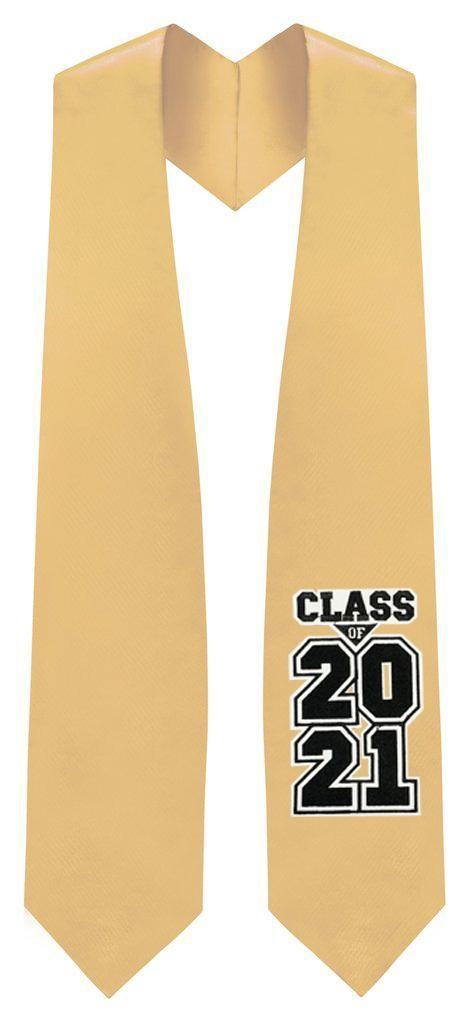 "Antique Gold ""Class of 2021""  Graduation Stole - Graduation Attire"