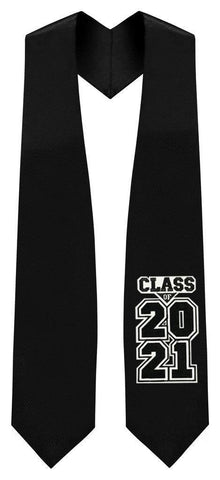 "Black ""Class of 2021"" Graduation Stole - Graduation Attire"
