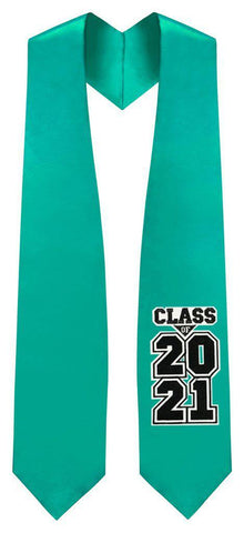 "Emerald Green ""Class of 2021"" Graduation Stole - Graduation Attire"