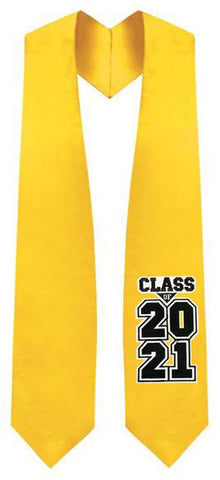 "Gold ""Class of 2021"" Graduation Stole - Graduation Attire"