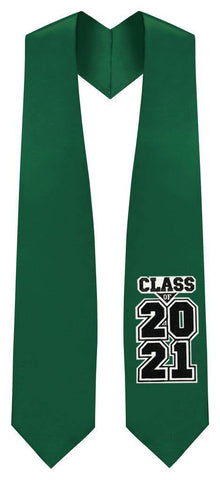 "Hunter Green ""Class of 2021"" Graduation Stole - Graduation Attire"