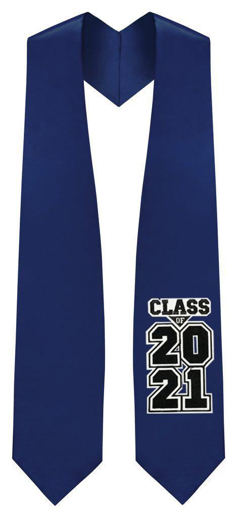 "Navy ""Class of 2021"" Graduation Stole - Graduation Attire"