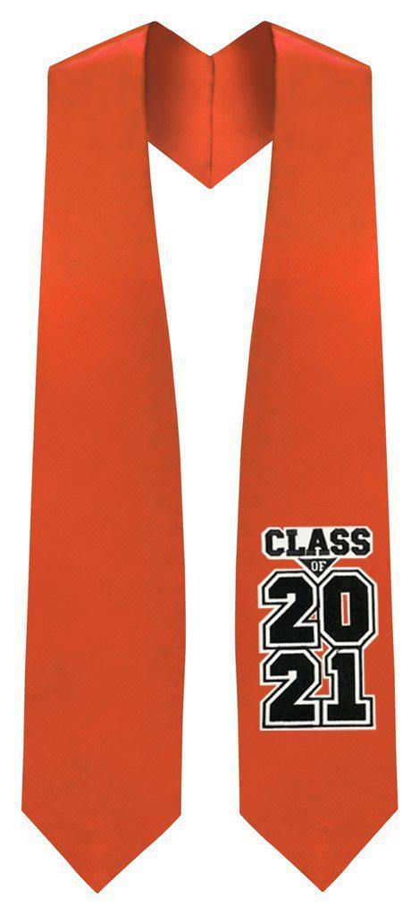 "Orange ""Class of 2021"" Graduation Stole - Graduation Attire"