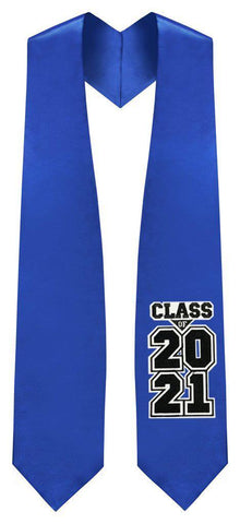 "Royal Blue ""Class of 2021"" Graduation Stole - Graduation Attire"