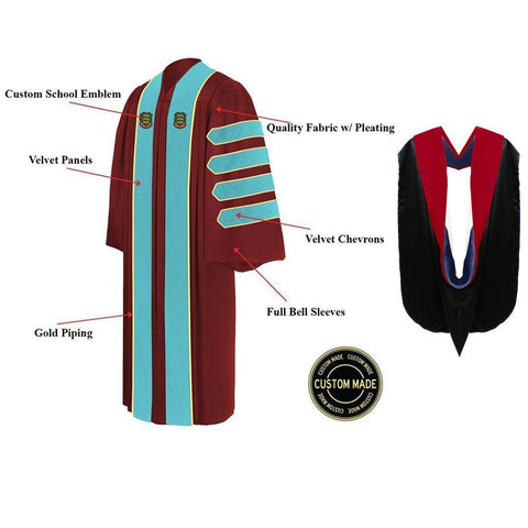 Custom Faculty Graduation Gown and Hood Package - Doctorate Regalia - Graduation Attire