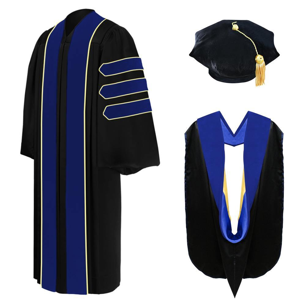 Deluxe PhD Doctoral Graduation Tam, Gown & Hood Package - PhD Blue