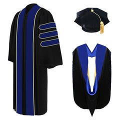 Deluxe PhD Doctoral Graduation Tam, Gown & Hood Package - PhD Blue - Graduation Attire