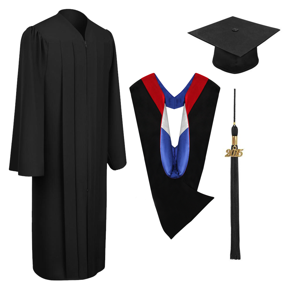 Matte Black Bachelors Cap, Gown, Tassel & Hood Package - Graduation Cap and Gown