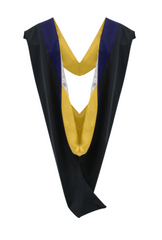 IN-STOCK GRADUATION MASTER HOOD -  DARK BLUE VELVET, GOLDEN YELLOW LINING, SILVER CHEVRON - Graduation Attire