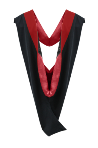 IN-STOCK GRADUATION MASTER HOOD -  SCARLET VELVET, RED LINING, BLACK CHEVRON - Graduation Attire