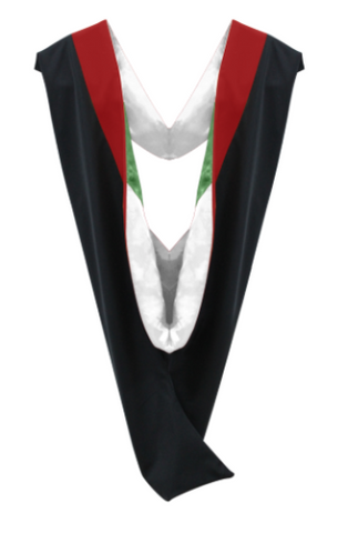 IN-STOCK GRADUATION MASTER HOOD - RED VELVET, WHITE LINING, KELLY GREEN CHEVRON