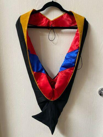 IN-STOCK GRADUATION MASTER HOOD -  SCIENCE GOLD VELVET, RED LINING, ROYAL BLUE CHEVRON - Graduation Attire