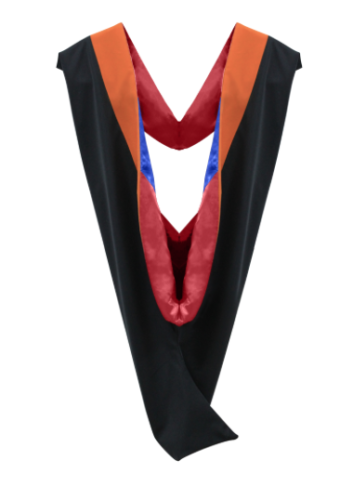 IN-STOCK GRADUATION MASTER HOOD -  ORANGE VELVET, RED LINING, ROYAL BLUE CHEVRON - Graduation Attire