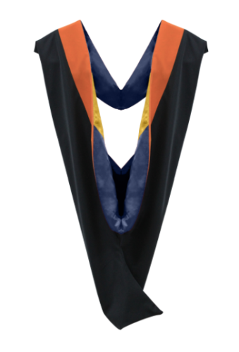 IN-STOCK GRADUATION MASTER HOOD -  ORANGE VELVET, NAVY BLUE LINING, LIGHT YELLOW CHEVRON - Graduation Attire