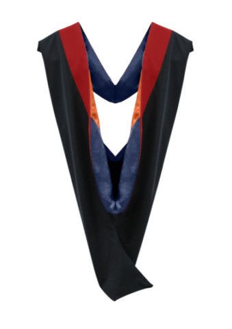 IN-STOCK GRADUATION MASTER HOOD -  SCARLET VELVET, NAVY BLUE LINING, ORANGE CHEVRON - Graduation Attire