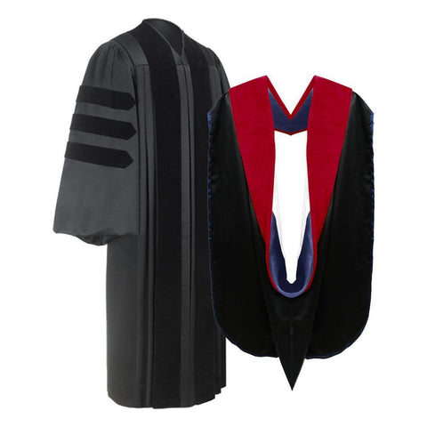Deluxe Faculty Graduation Gown & Hood Package - Graduation Attire