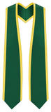 "Plain Graduation Stole Pointed End With Gold Trim - 60"" Long - Graduation Cap and Gown"