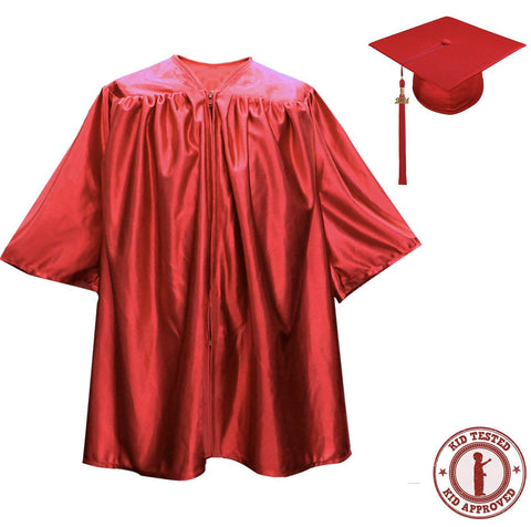 Child Red Graduation Cap & Gown - Preschool & Kindergarten
