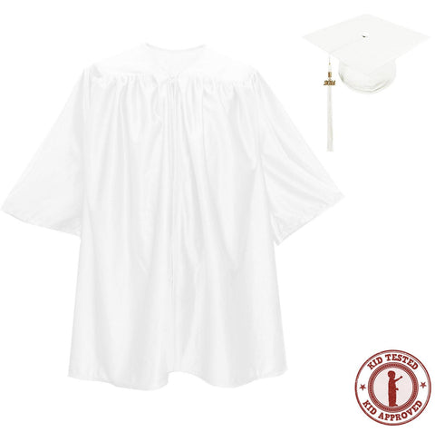 Child White Graduation Cap & Gown - Preschool & Kindergarten