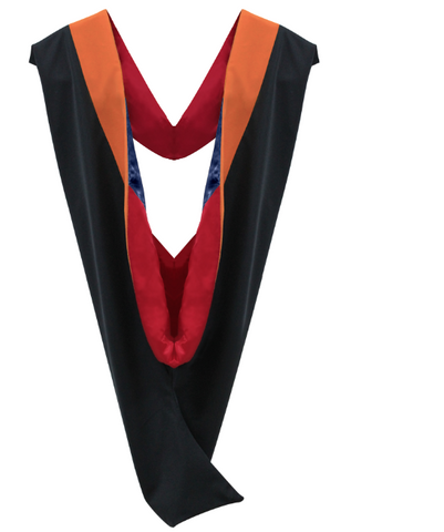 IN-STOCK GRADUATION MASTER HOOD -  ORANGE VELVET