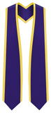 "Plain Graduation Stole Pointed End With Gold Trim - 72"" Long - Graduation Cap and Gown"