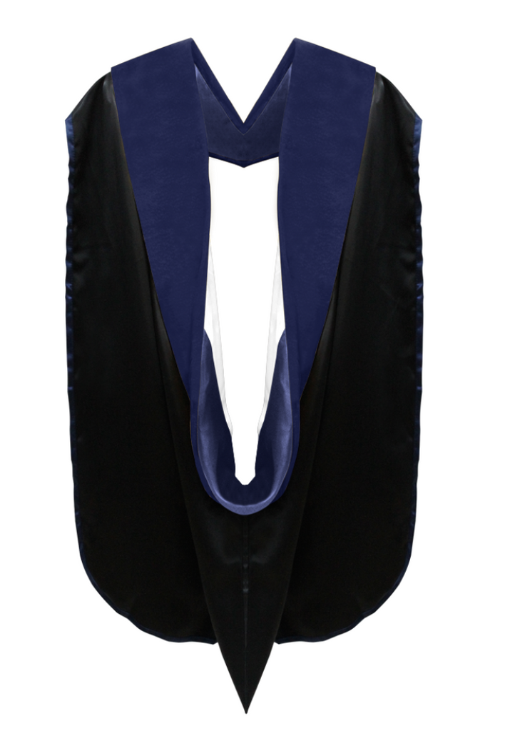 Phd Hood Dark Blue Velvet - Dark blue & White